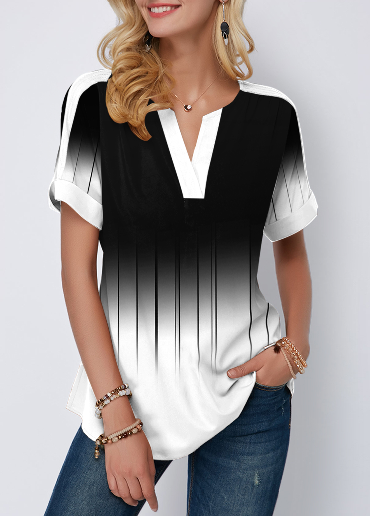 Printed Color Block Short Sleeve Blouse