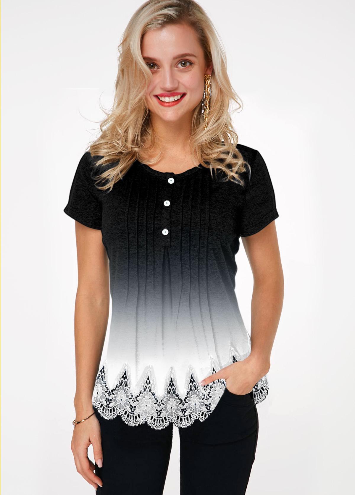 Lace Hem Button Detail Gradient T Shirt
