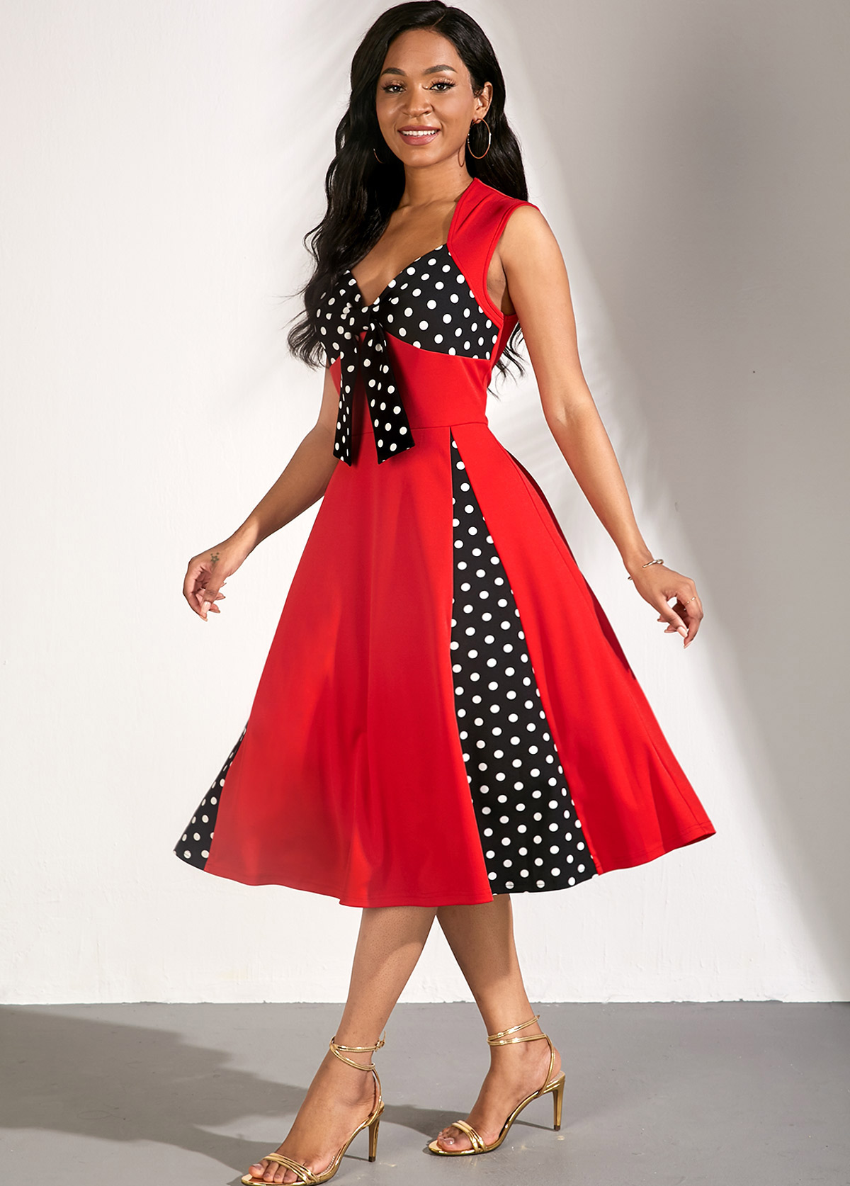 Bowknot Detail A Line Polka Dot Dress