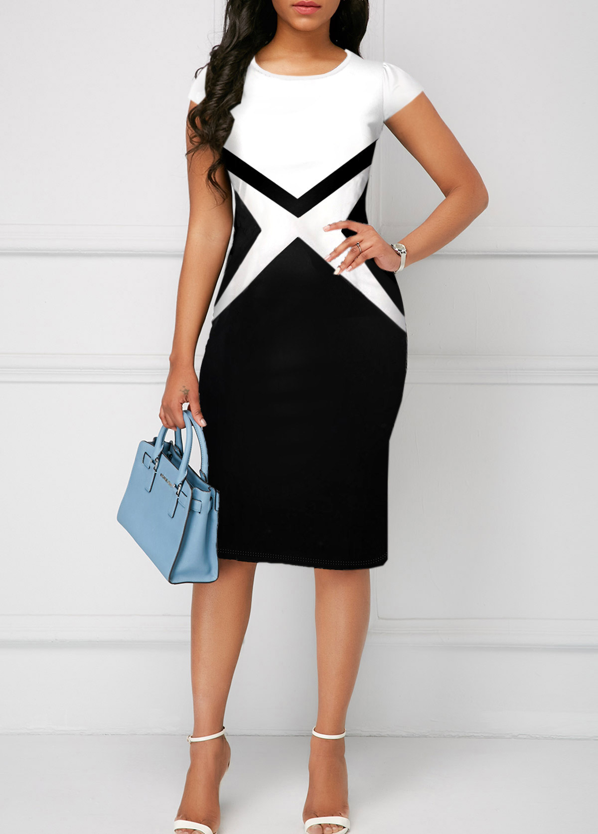 Round Neck Short Sleeve Color Block Dress