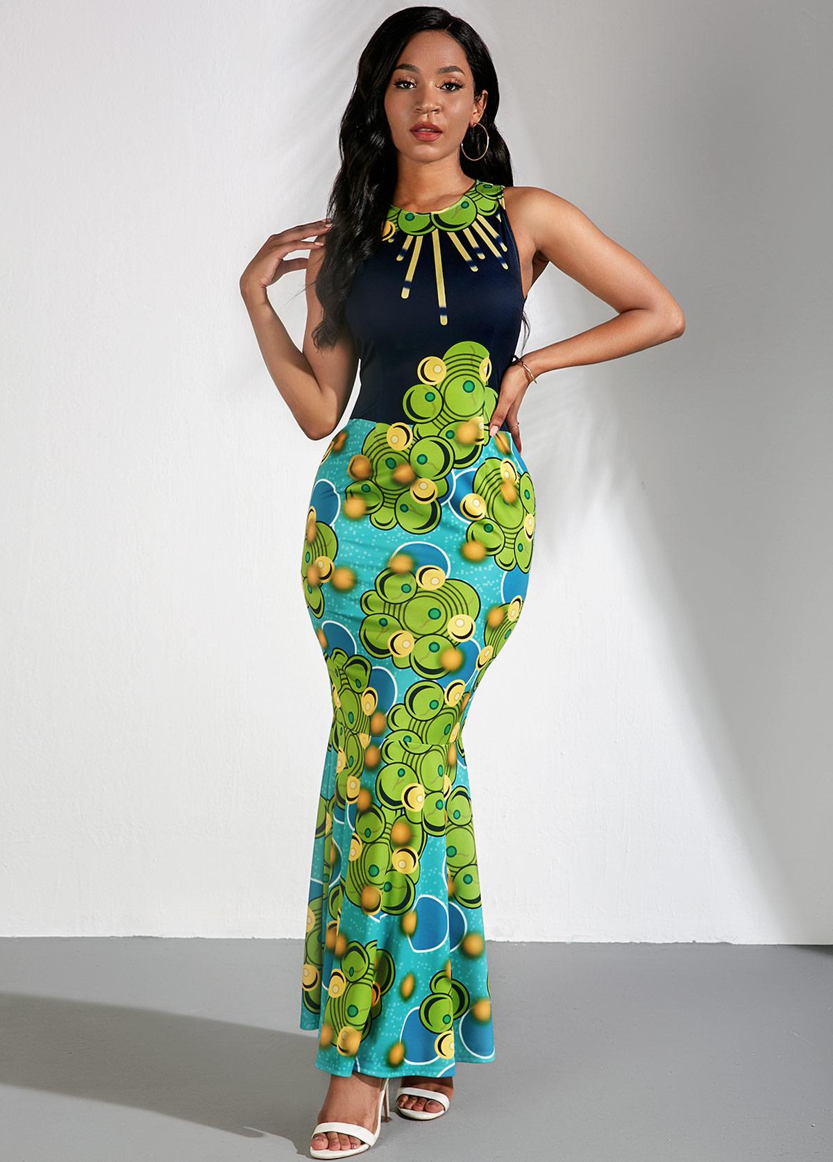 Maxi Tribal Print Sleeveless Mermaid Dress