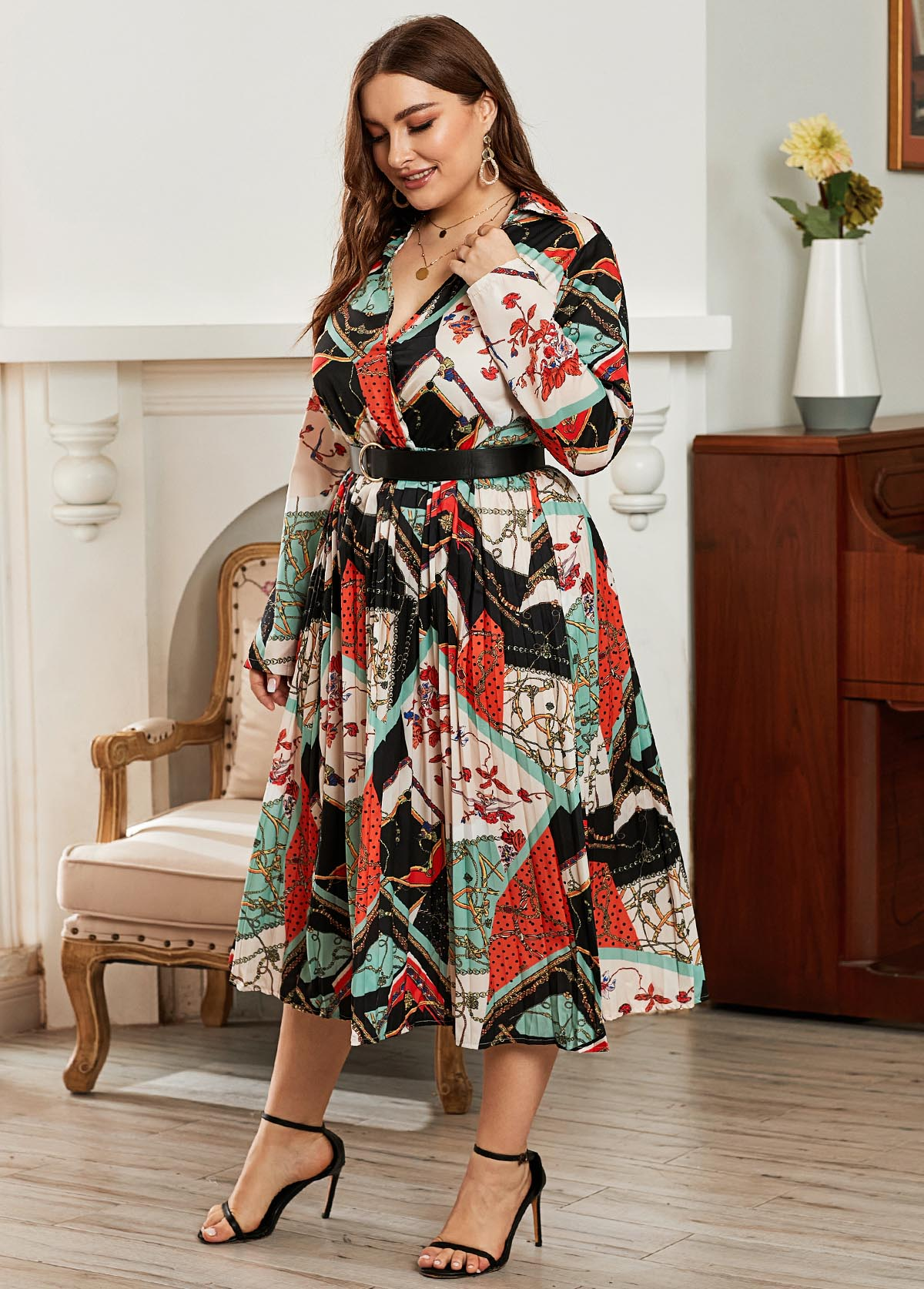 Tribal Print Belted Plus Size Dress