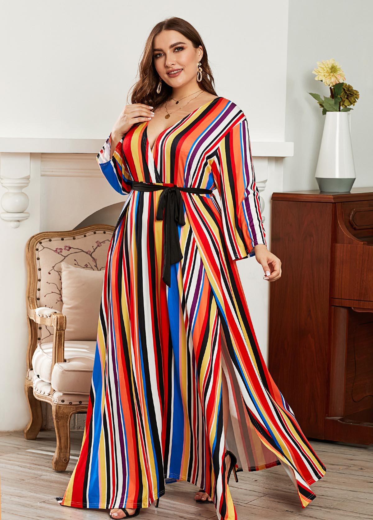 Rainbow Stripe Belted Plus Size Maxi Dress