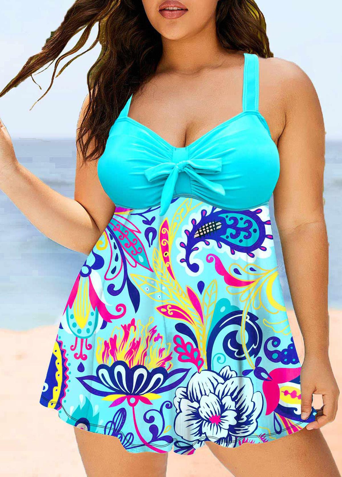Printed Bowknot Plus Size Swimwear Top