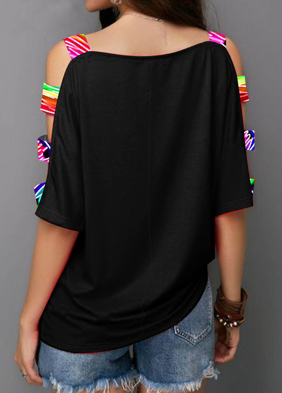 Heart Print Ladder Cutout Sleeve Rainbow T Shirt