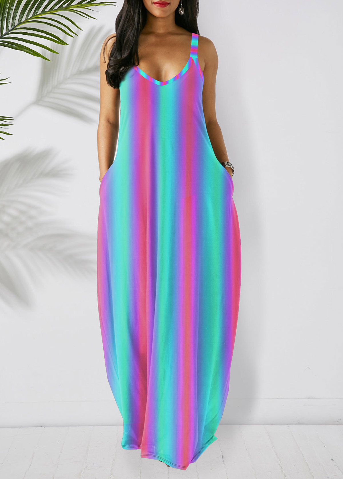 Side Pocket Spaghetti Strap Stripe Print Dress