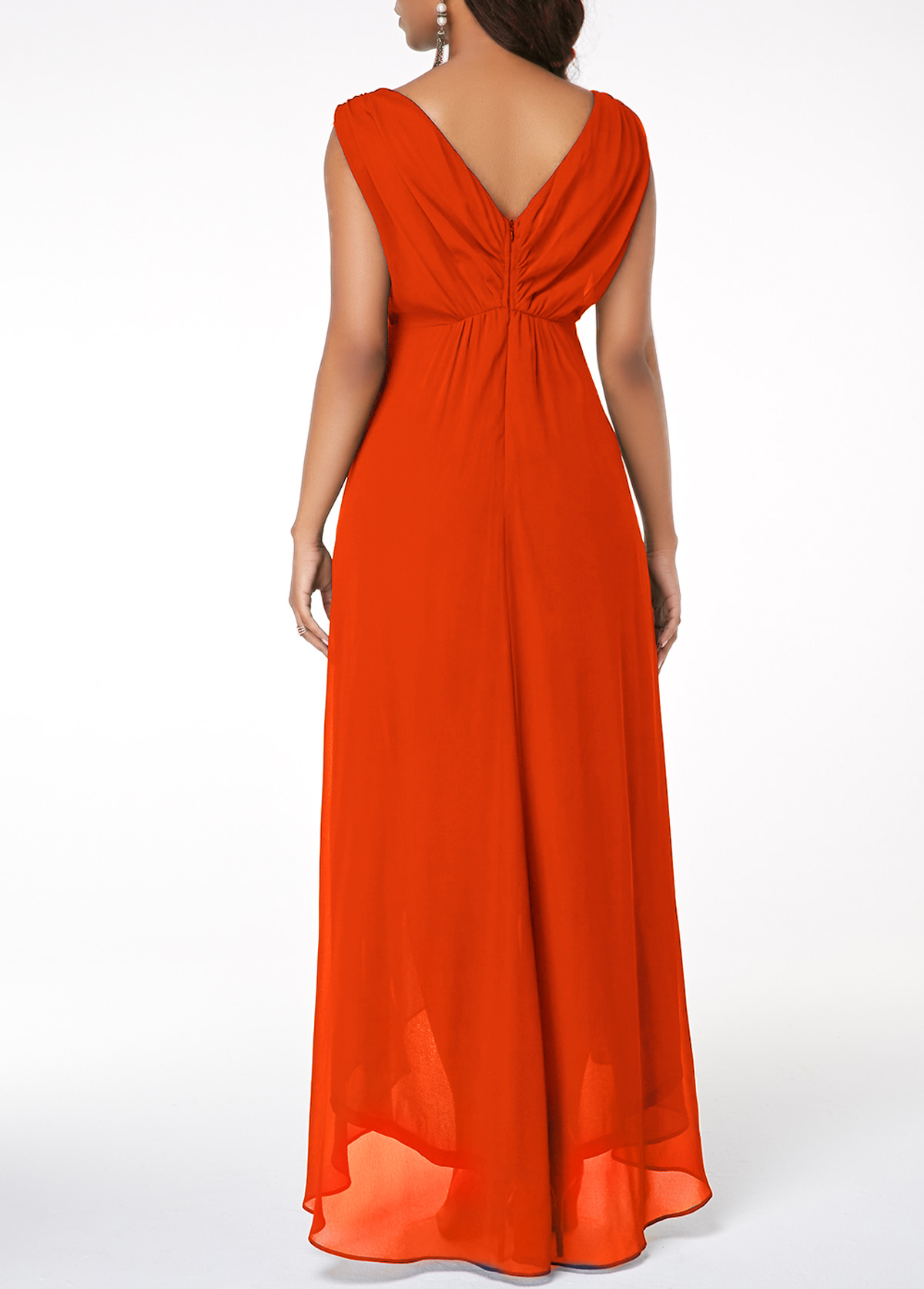 Asymmetric Hem Plunging Neck V Back Maxi Dress
