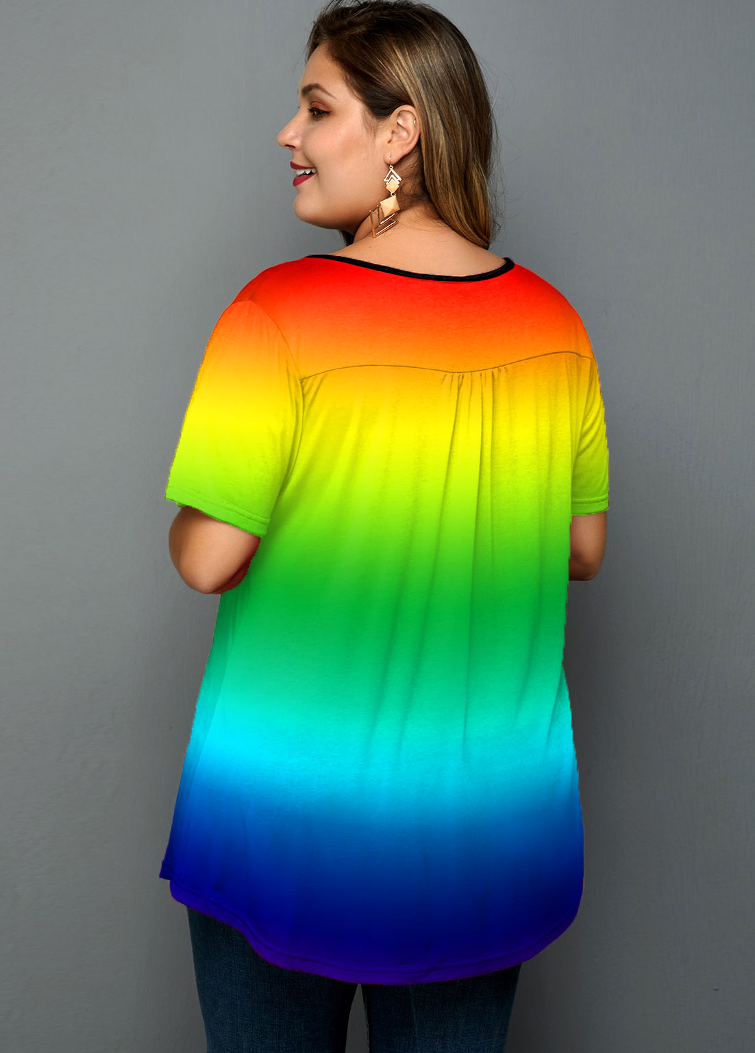 Cutout Neck Rainbow Color Plus Size T Shirt