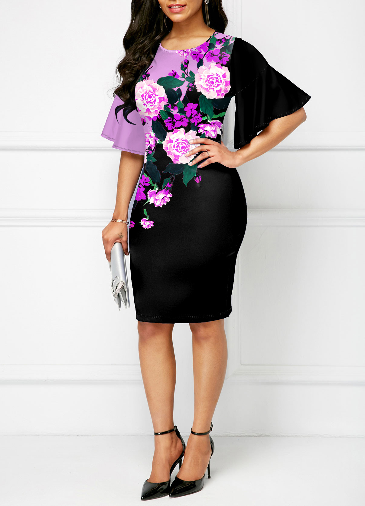 Floral Print Round Neck Flare Sleeve Dress