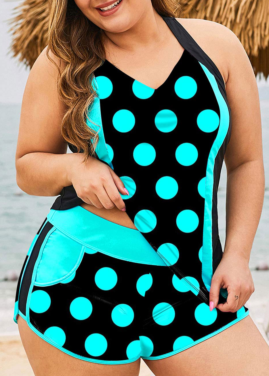 Polka Dot Pocket Plus Size Tankini Set