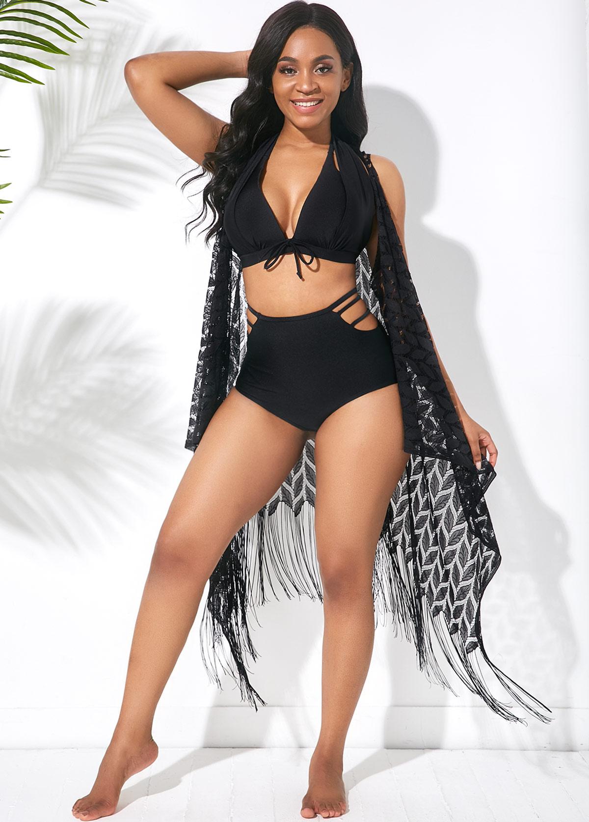 Halter Bowknot Pierced Black Bikini Set