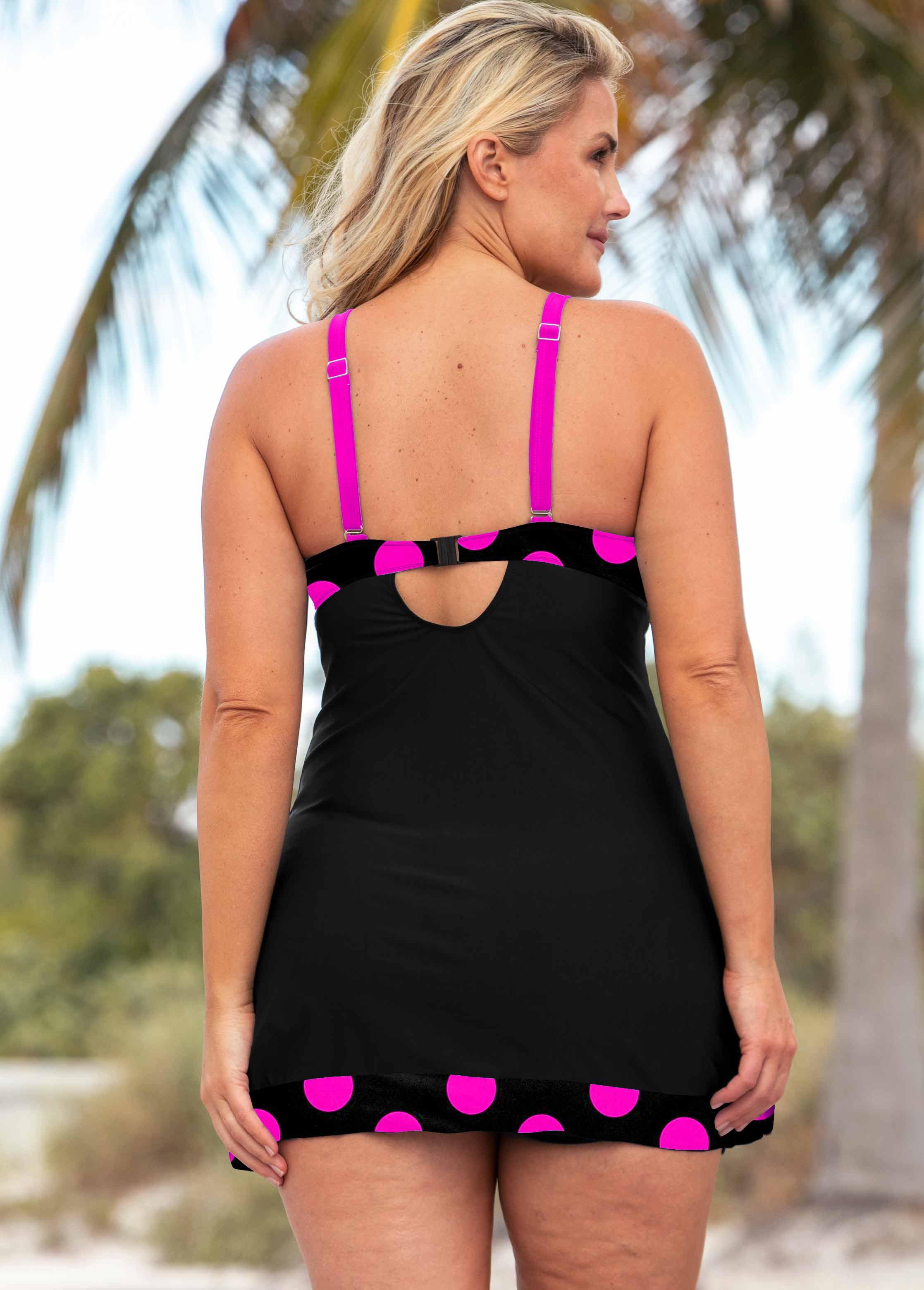 Polka Dot Bowknot Plus Size Swimwear Top