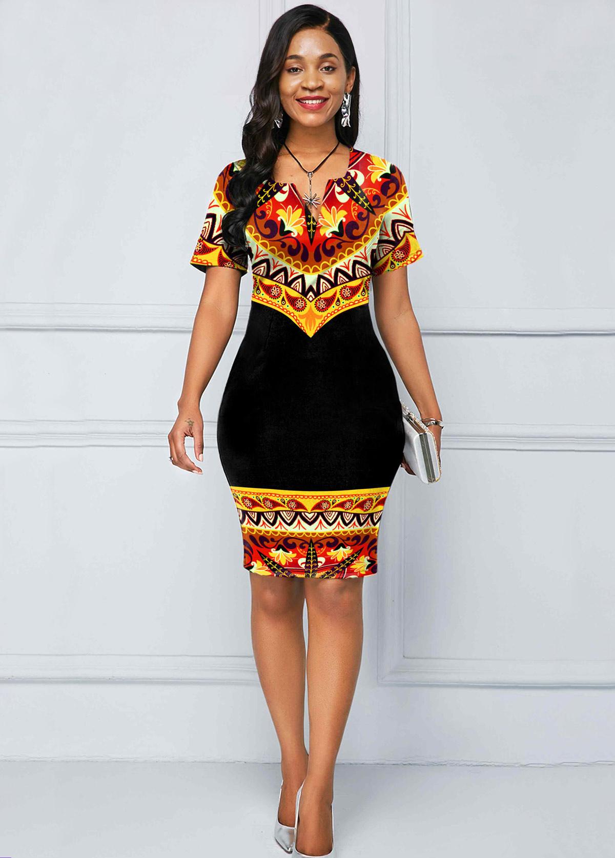 Split Neck Short Sleeve Tribal Print Dress