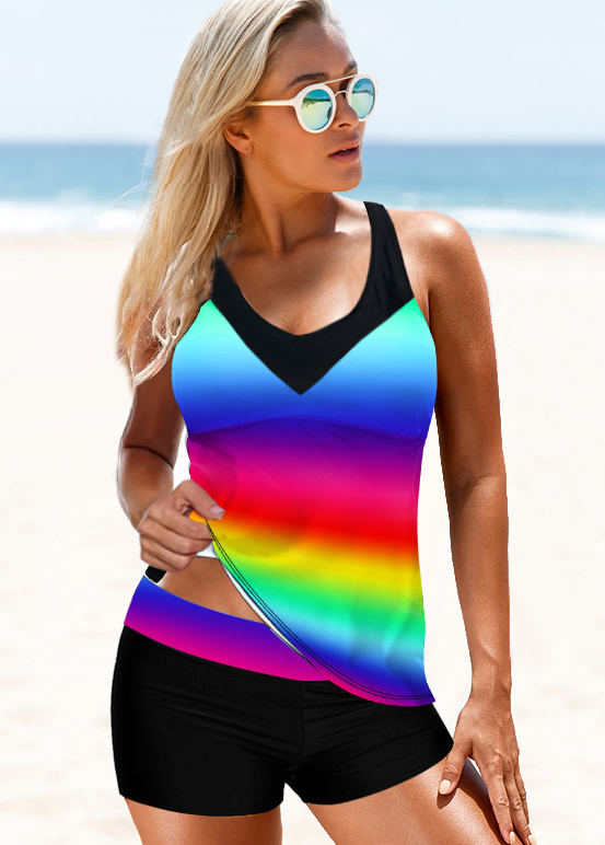 Rainbow Color Strappy Back Tie Dye Print Tankini Set