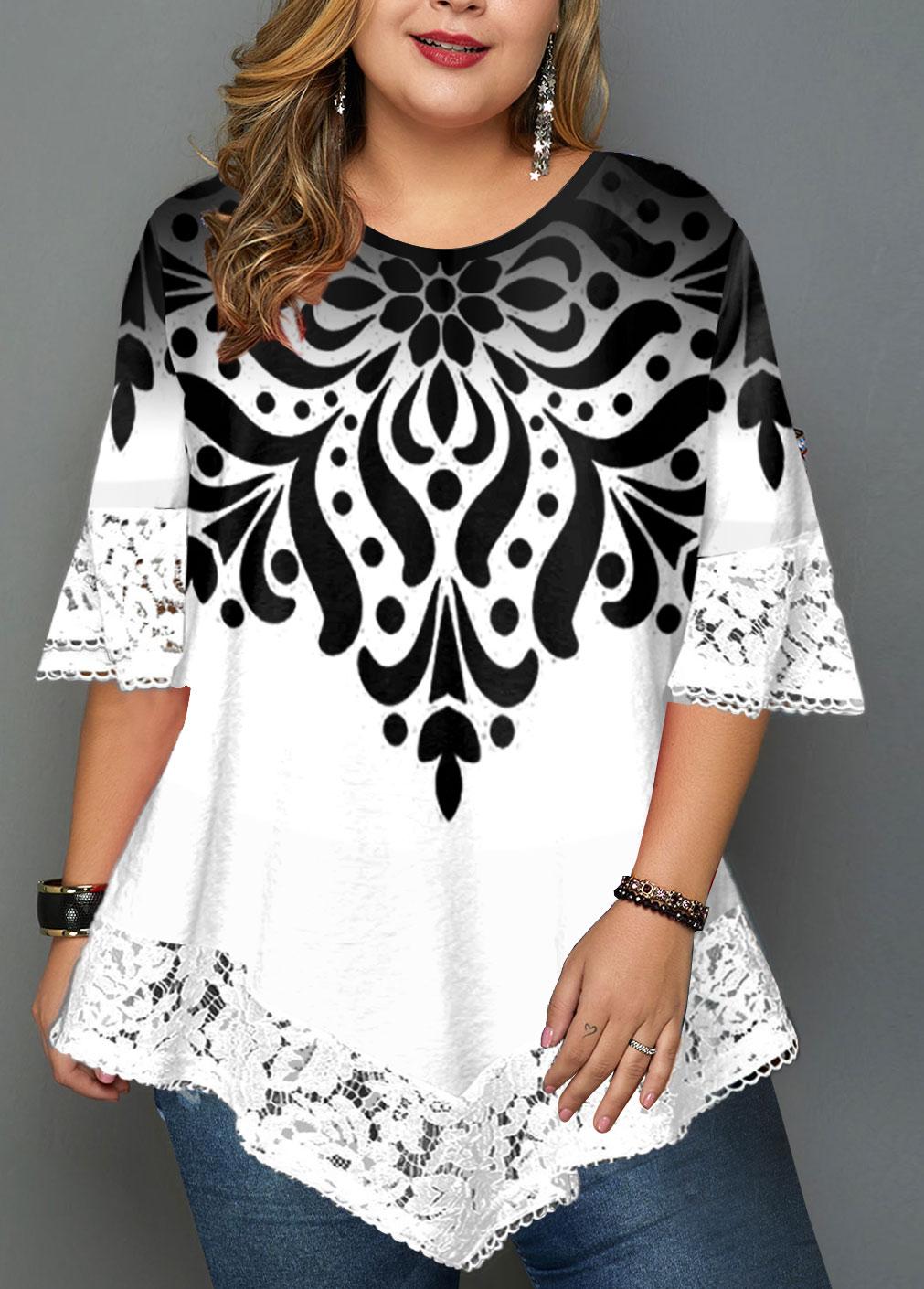Lace Panel Asymmetric Hem Printed Plus Size T Shirt