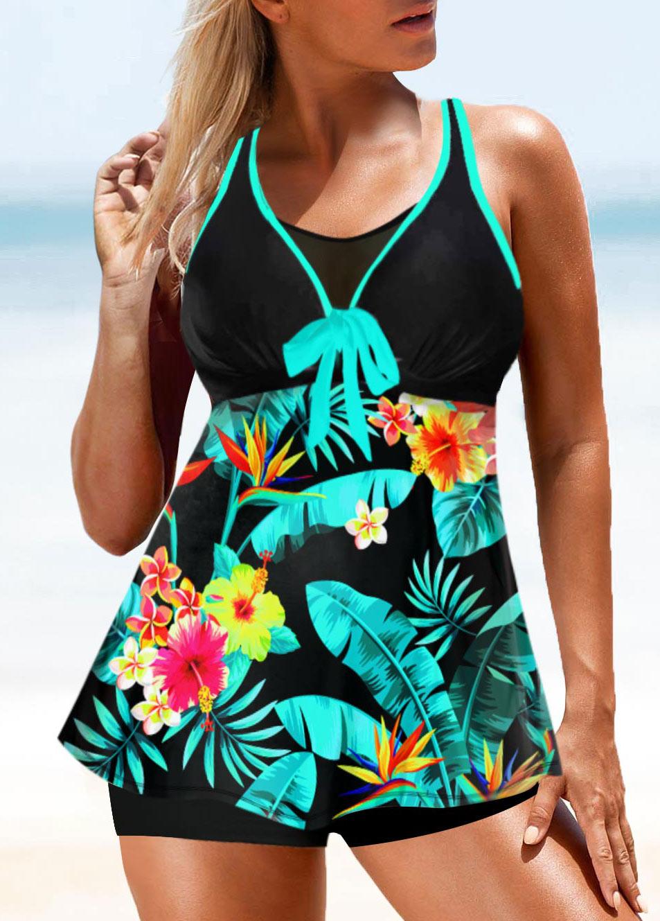 Bowknot Tropical Print Double Strap Swimwear Top