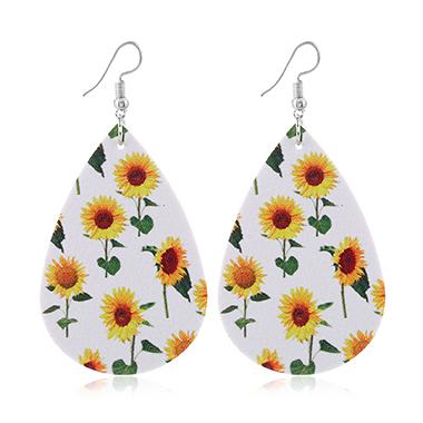 Leather Sunflower Print White Earring Set