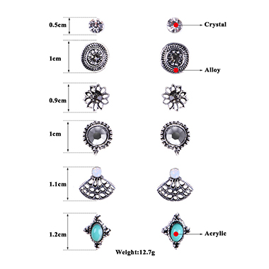 6 Pairs Turquoise Various Design Earring Set