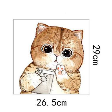 28 X 27.5cm Cat Design Brown Wall Sticker