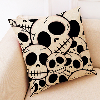 1pc 45 X 45cm Skull Black Print Pillow Case