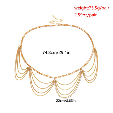 Layered Gold Metal Body Chain for Women