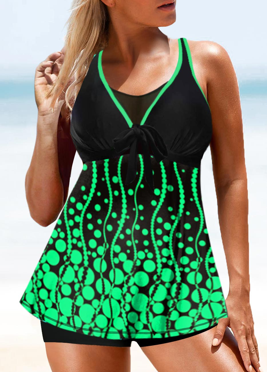 Green Plus Size Printed Tankini Set
