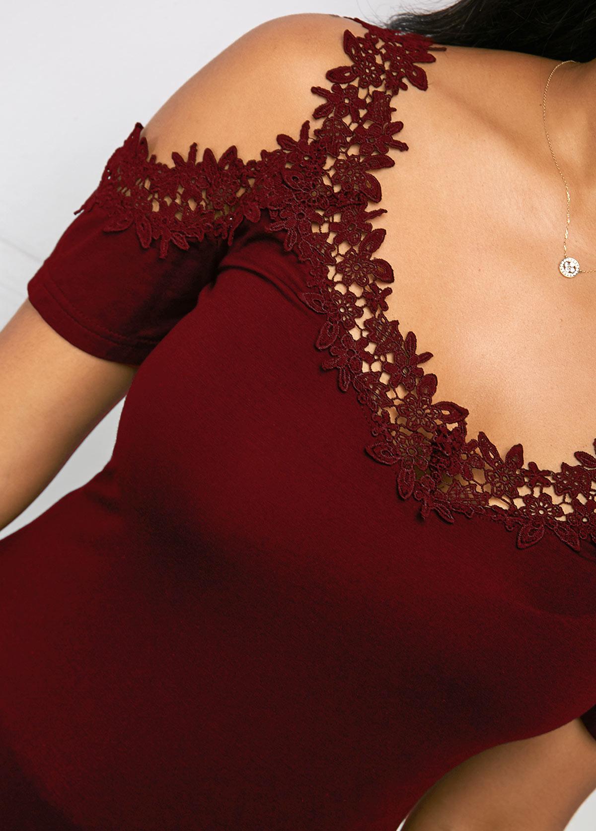 Wine Red Cold Shoulder Lace Trim Soft T Shirt