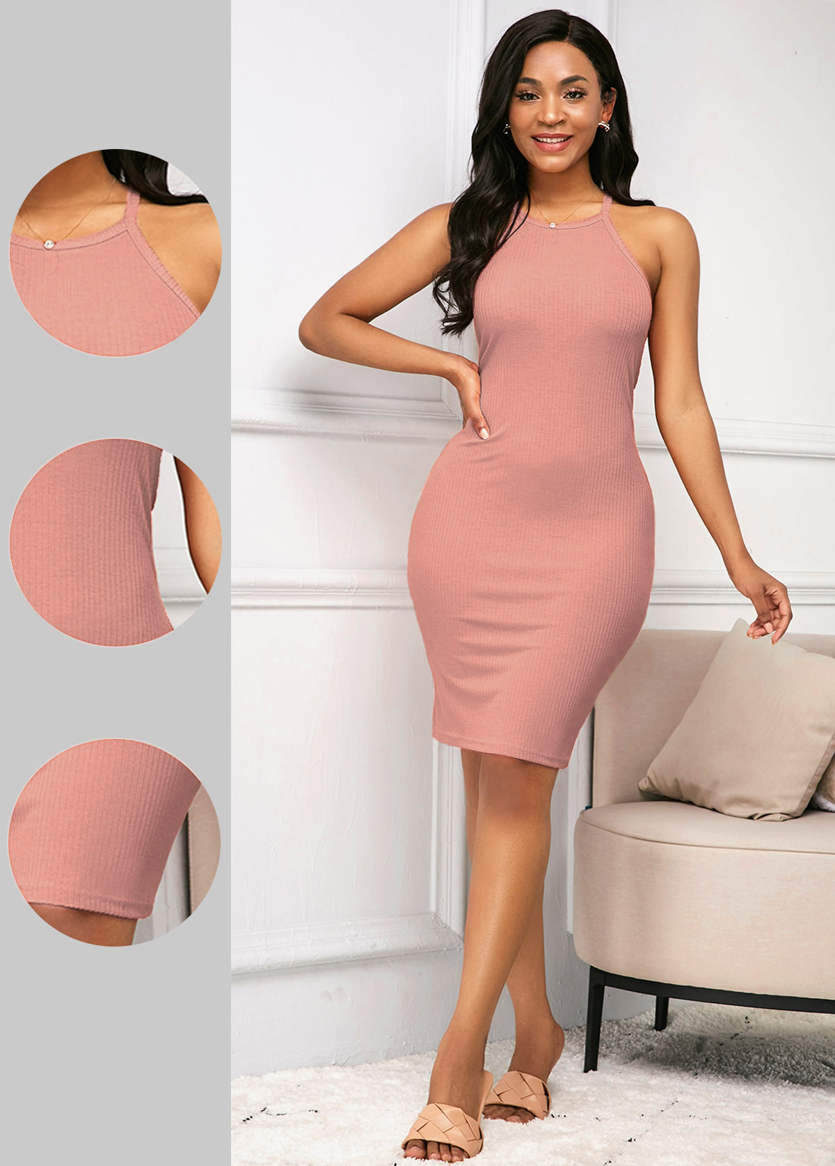 Sleeveless Pink Spaghetti Strap Sheath Dress
