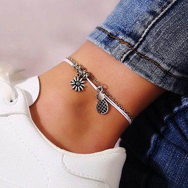 Sunflower Shape Layered Silver Metal Anklet