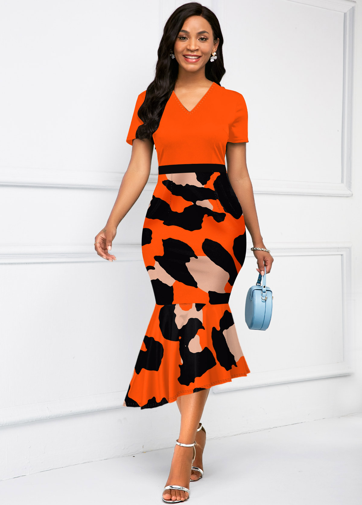 V Neck Ruffle Hem Leopard Print Dress