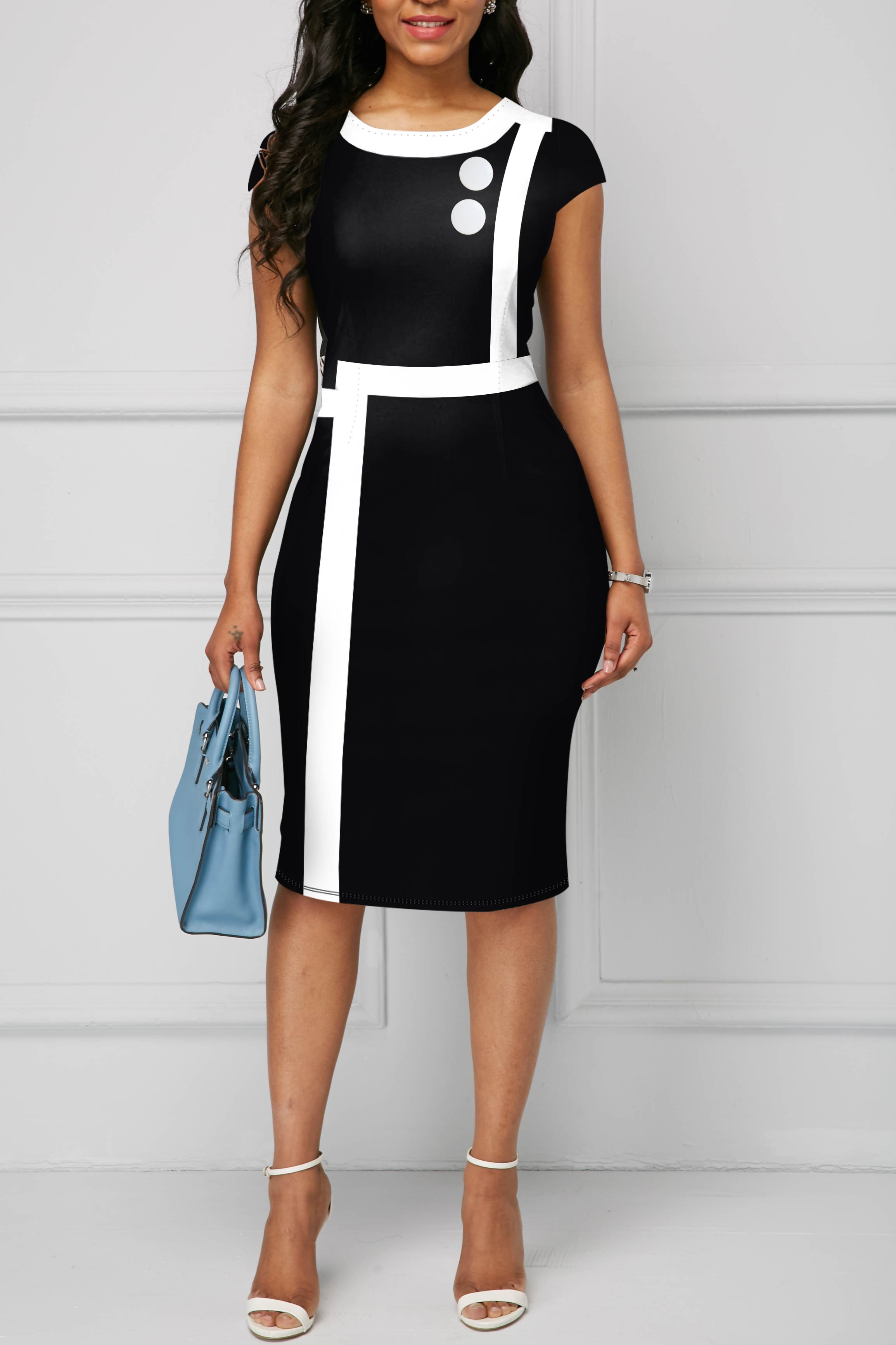 Short Sleeve Contrast Piping Round Neck Dress