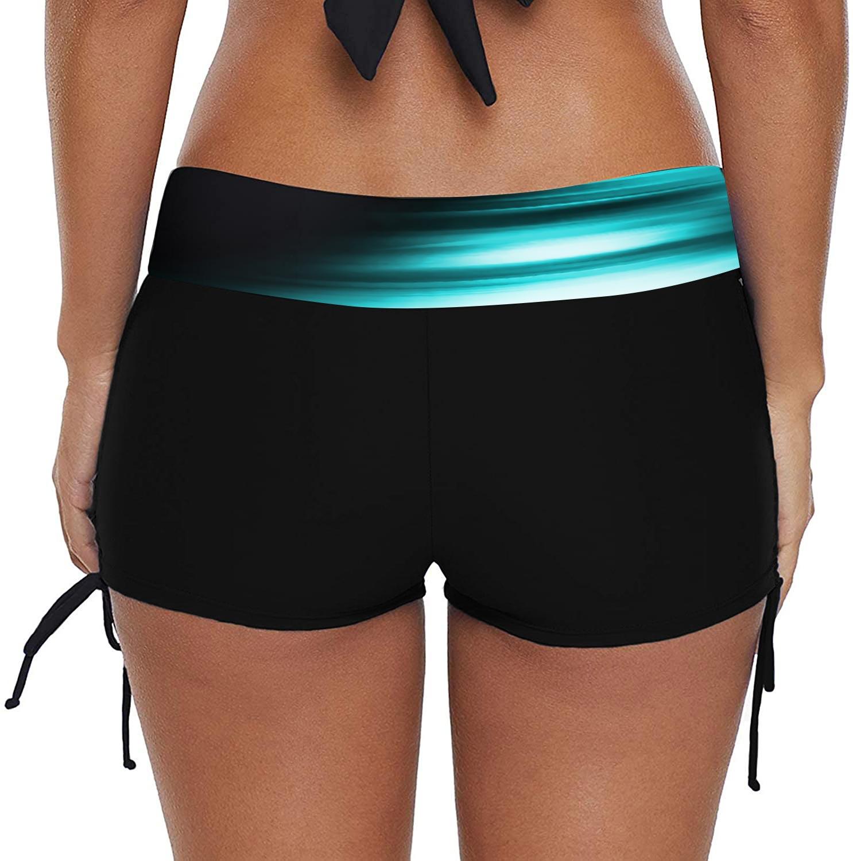 Mid Waist Drawstring Side Printed Swimwear Shorts