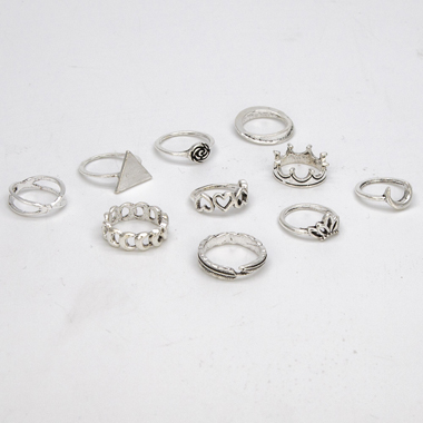 Silver Metal Flower Design Ring Set for Women