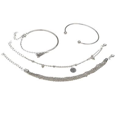 Silver Tassel Multi Layer Bracelet Set