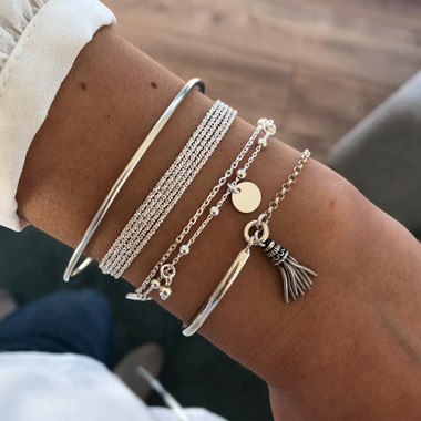 Silver Tassel Multi Layer Bracelet Set