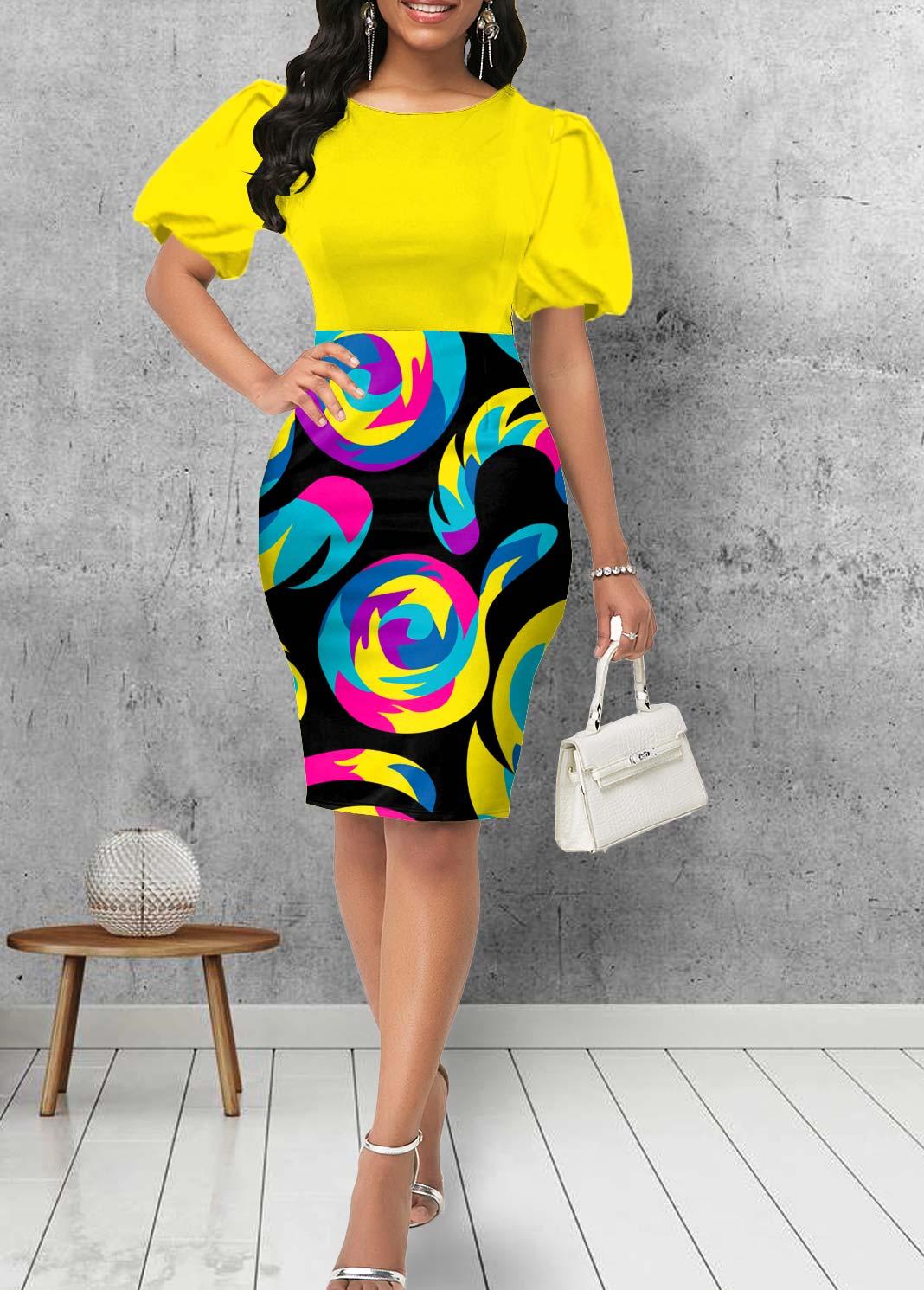 Round Neck Puff Sleeve Geometric Print Dress
