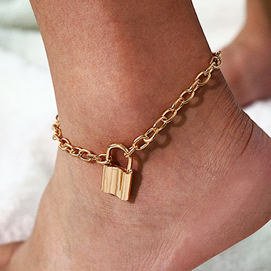 Gold Lock Curb Metal Chain Anklet