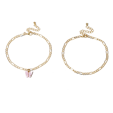 Butterfly Design Gold Plated Anklet Set For Lady