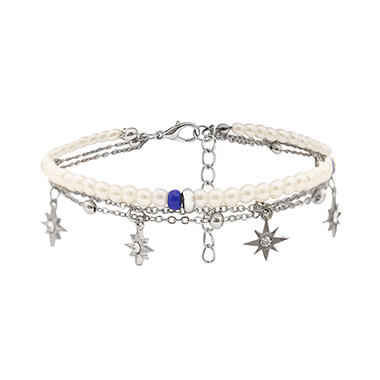 Layered Star Shape Silver Metal Anklet