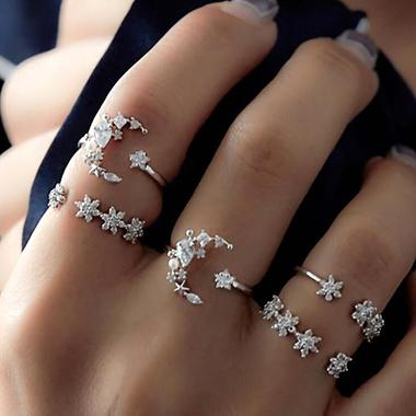 Silver Metal Bohemian Geometric Shape Ring Set for Women