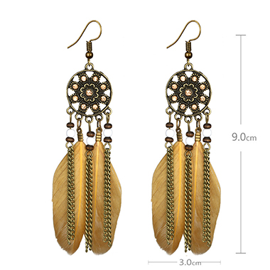 Beading Tassel Feather Embellished Earring Set