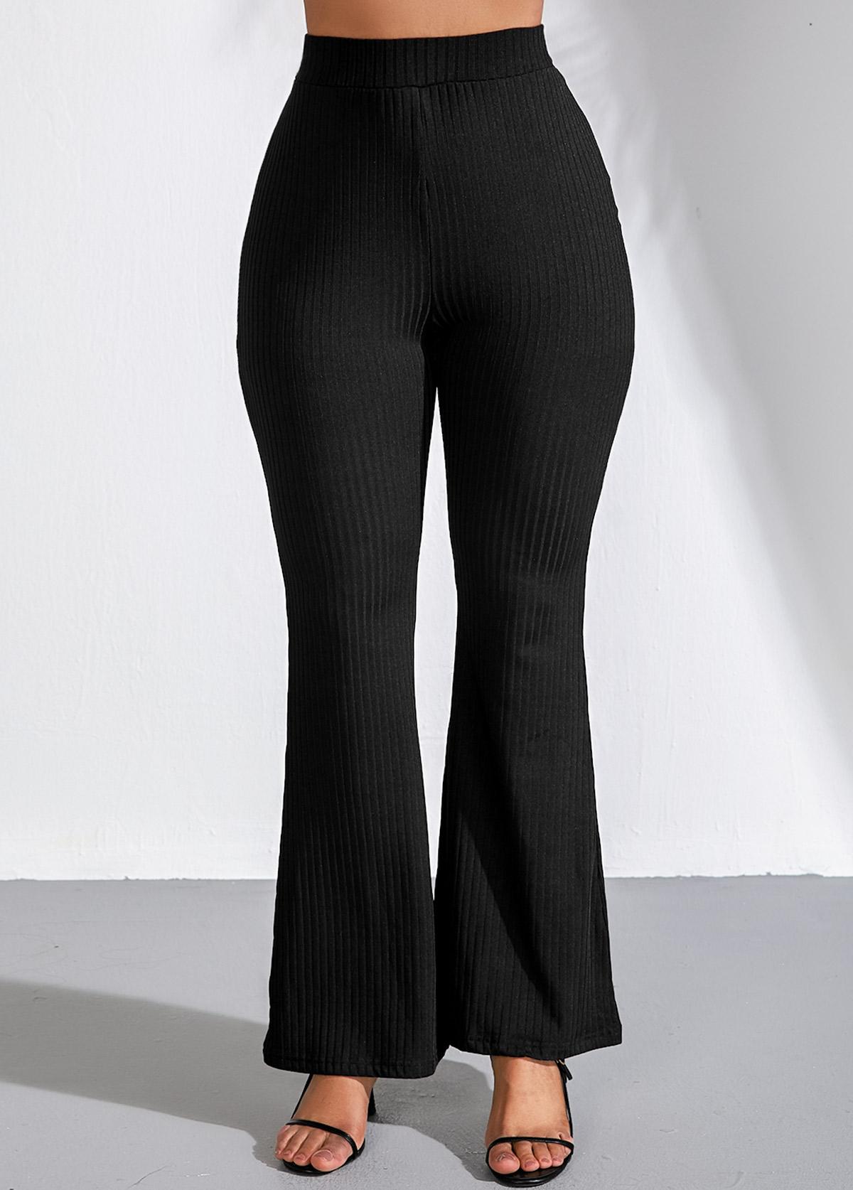 Elastic High Waist Black Flare Pants