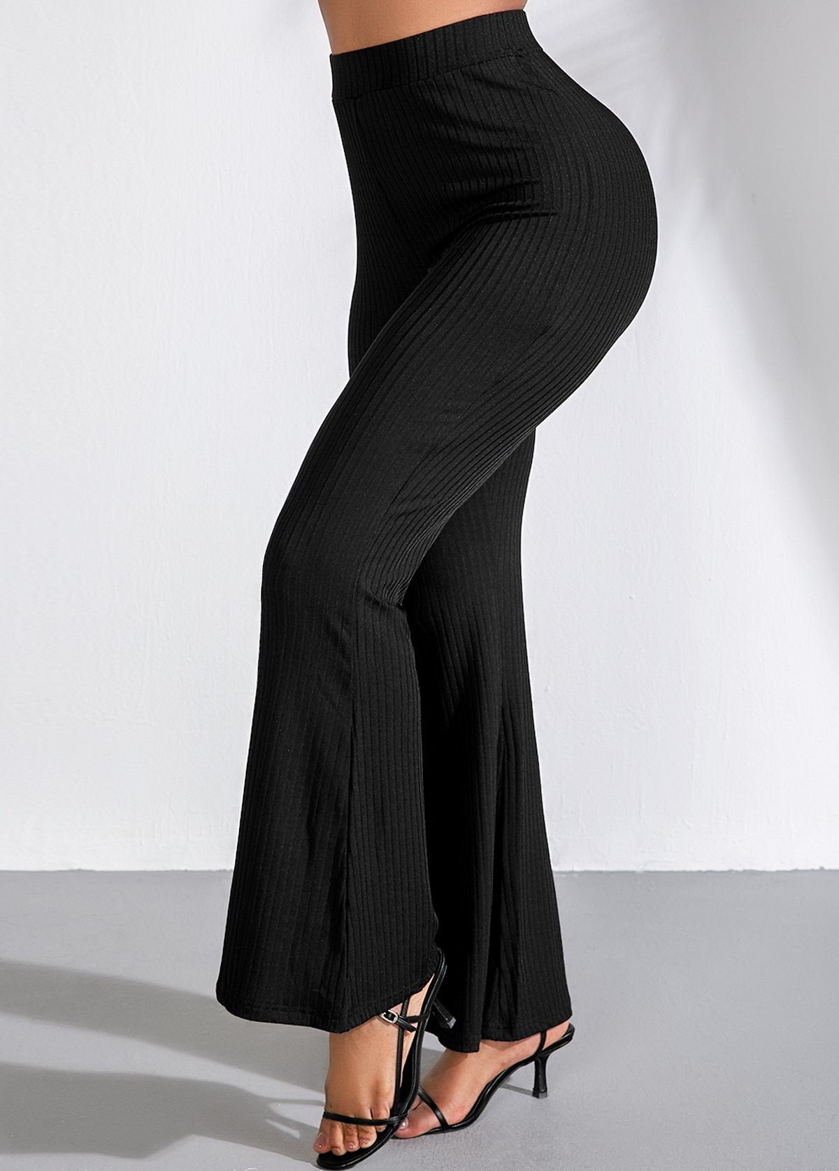 Elastic High Waist Black Flare Pants