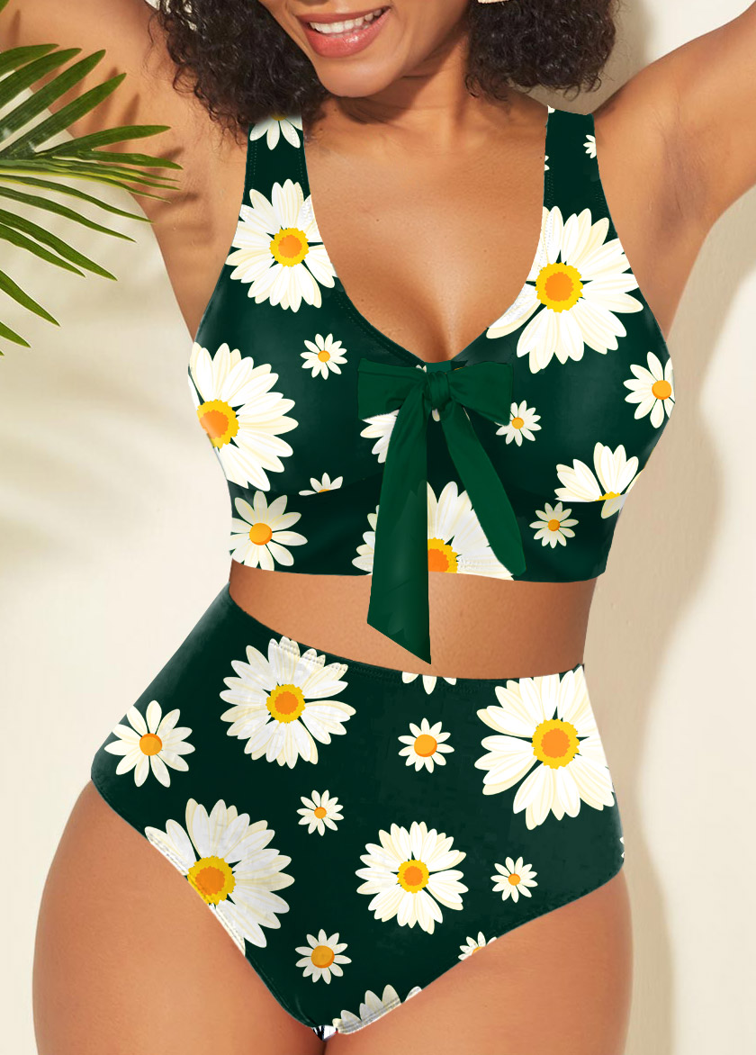 Bowknot Daisy Print Cross Strap Bikini Set