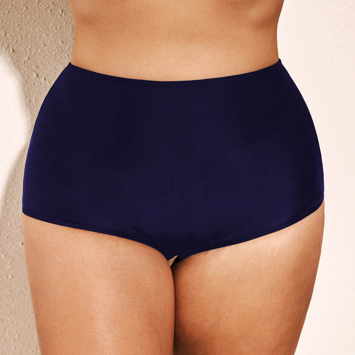 Navy Blue Plus Size High Waist Swimwear Panty