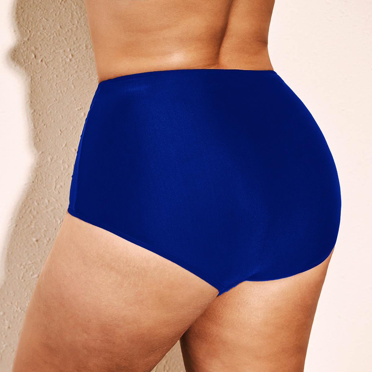 Blue Plus Size High Waist Swimwear Panty