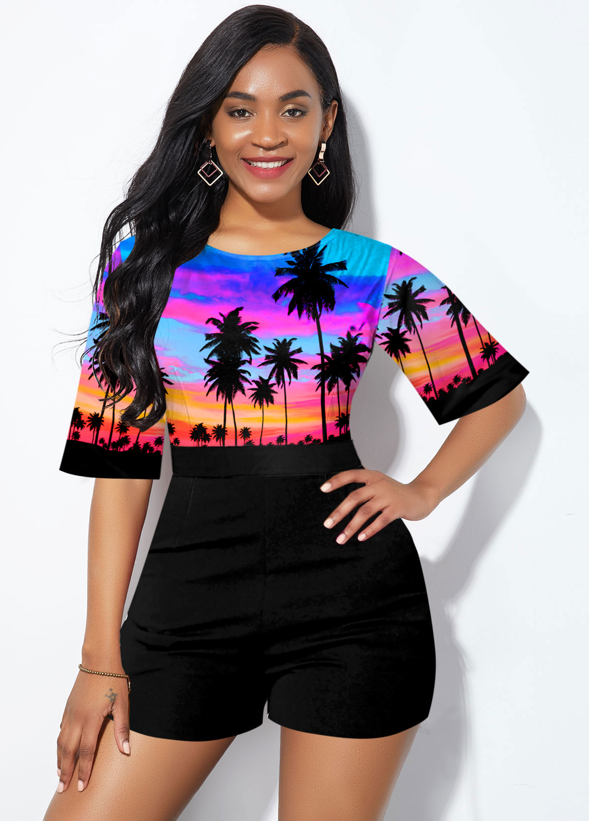 Half Sleeve Round Neck Tropical Print Romper