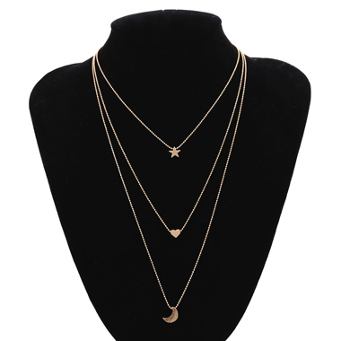 Layered Gold Metal Star and Moon Decorated Necklace