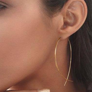 Sinple Gold Metal Fish Shape Earring Set