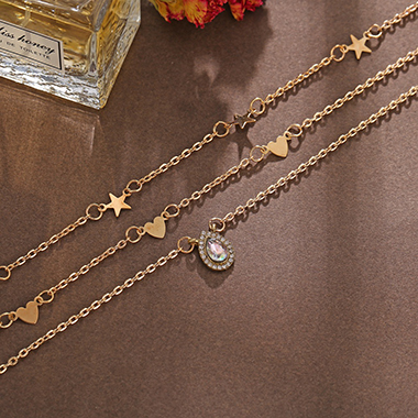 Layered Gold Metal Star Design Necklace